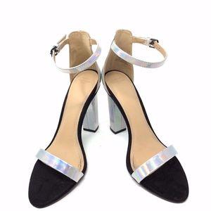Zara Size 7 (37) Silver Metallic Heels